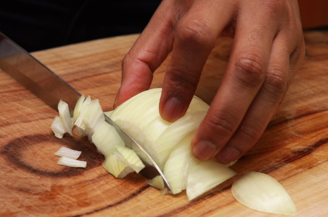 Like all great curries, this one starts with onions.