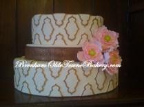 pink trio peony wedding cake