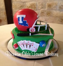 billiards, fooball and poker grooms cake