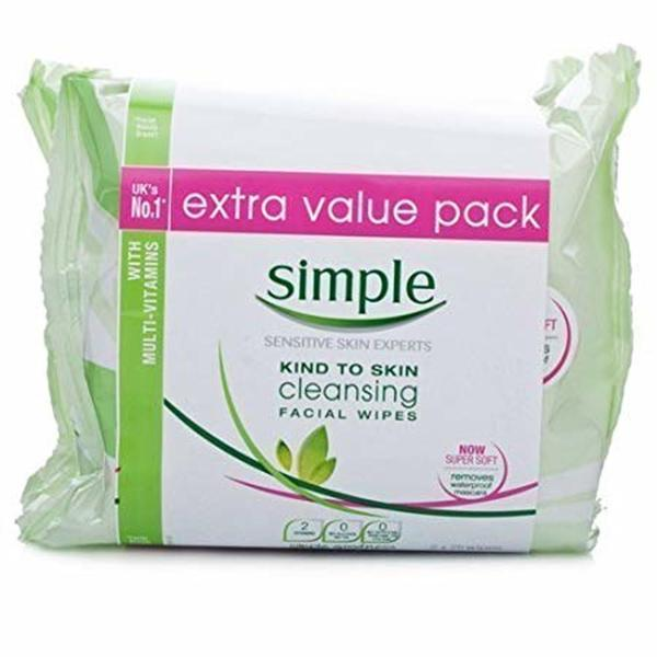 SIMPLE FACIAL CLEANSING WIPES TWIN PACK (50's)