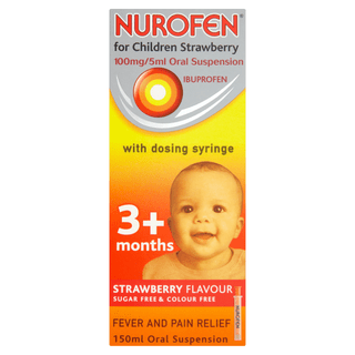 NUROFEN FOR CHILDREN 100MG 5ML STRAWBERRY SYRINGE 150ML