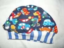 Babymütze blau weiß innen Autos