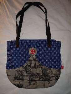 Handtasche Schiff Ahoi blau mit weißen Punkten