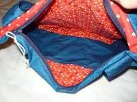 Handtasche Zirkus Sterne Punkte rot blau mit Innenfächern