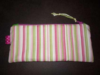 Mäppchen - Sonnenbrillenetui - Kosmetiktasche 4 rosa grün gestreift