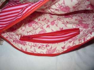romantische Handtasche Vögel rosa Reißverschlussfach innen