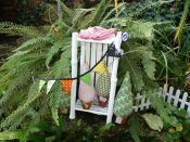Brennender Schuh - Ausstellung in einem kreativen Garten in Gemünden, Torten-Mini-Girlande u. andere genähte Kleinigkeiten