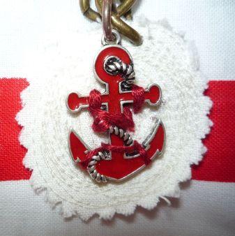 Brennender Schuh - Anker Anhänger Reißverschluss Meer-Tasche maritim rot weiß