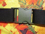 Brennender Schuh - grüne Steckschließe Schließschnalle Gurtband