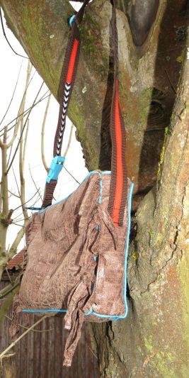 BrennenderSchuh Fransen-Handtasche im Leder-Reptilien-Indianer-Look mittlere Größe, braun-türkis selbstgenäht