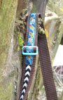 BrennenderSchuh Gurtband mit Webband Federn Pfeile Indianer Fransen-Handtasche im Leder-Reptilien-Look braun-türkis, genäht
