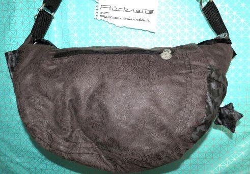Rückseite Reißverschlussfach, große Handtasche - Wickeltasche aus Möbelstoff Ornamente-Blumen genäht, Anthrazit - Mint