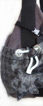 Seitenfach mit Stern, große Handtasche - Wickeltasche genäht, Anthrazit - Mint mit Aufdruck, Webbändern, Reißverschluss, Innenfächern