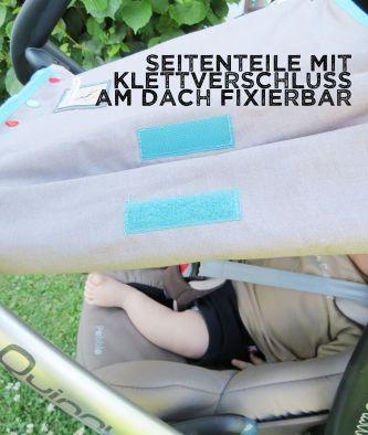 Seitenteile am Dach fixierbar, Sonnenschutz Babyschale, genäht