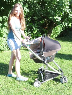 Sonnenschutz zum Anknöpfen, beige Fuchs-Motiv, Babyschalengestell z. B. MaxiCosi u. Quinny, Brennender Schuh fürs Baby genäht