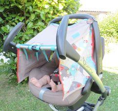 Sonnensegel, Sonnenschutz anknöpfbar, Baby, beige Fuchs-Motiv, Wagen Babyschale genäht
