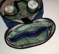 Verpflegungstasche fürs Baby für die Wickeltasche, Reißverschlussfach aus Mesh im Deckel, Kunstleder blau