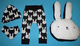 Oster-Outfit, Dresscode Ostern, Baby Kaninchen Hase Kissen Hose Halstuch Mütze