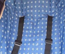Anker-Stoff Jeans blau - Kinderwagen Bezug abnehmbar Druckknöpfe - maritim nautisch