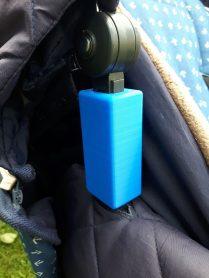 Update - 3-D-Druck blau, Adapter für Kinderwagen - Erhöhung Dach (3)