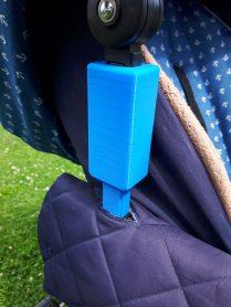Update - 3-D-Druck blau, Adapter für Kinderwagen - Erhöhung Dach - mit Schraube als Verstärkung im Innern(1)