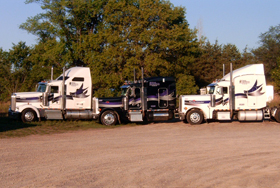 Yes, we do show off our Trucks like children after 25+ years in the trucking business. We are just about as proud of our Trucks as we are of our dauther Holly...just about.