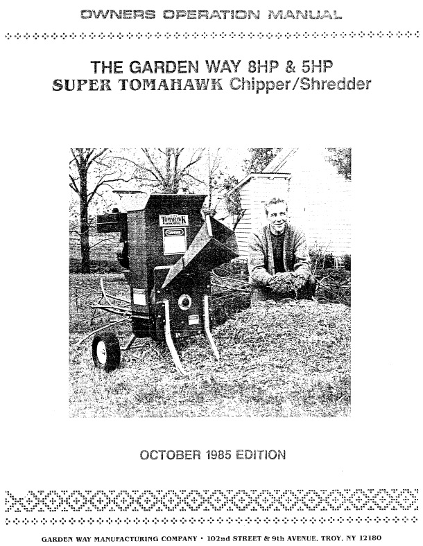 Troy bilt super tomahawk chipper shredder manual