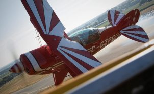 Pitts & T-6 Buzz the tower at Abbotsford!