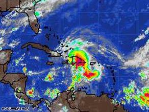 Satellite image of tropical storm Noel