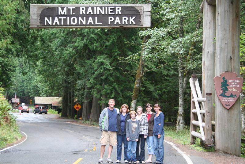 Brent, Suzi, Jamison, Melissa, Heather, and Ashley at Mt. Rainier National Park Entrance