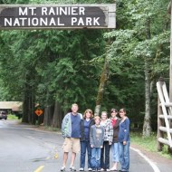 Brent, Suzi, Jamison, Melissa, Heather, and Ashley at Mt. Rainier National Park Entrance