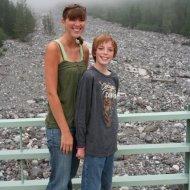 Ashley and Jamison on bridge over Nisqually River