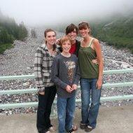 Melissa, Jamison, Heather and Ashley on bridge over Nisqually River