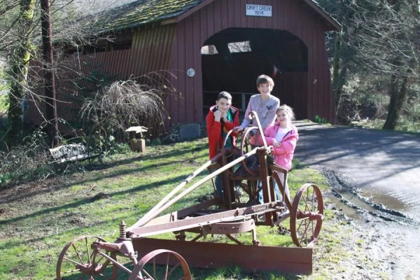 Jamison and friends at Drift Creek covered bridge