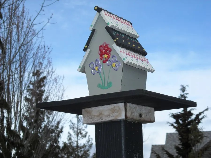 A neighbor's decorative birdhouse