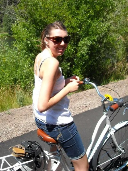 Melissa on Heather's bike