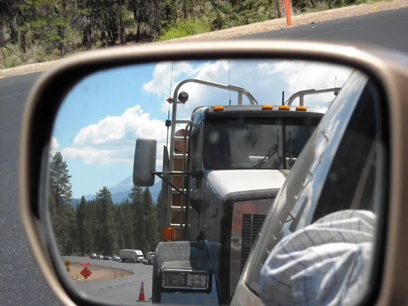 A view at one of the work areas on Highway 97