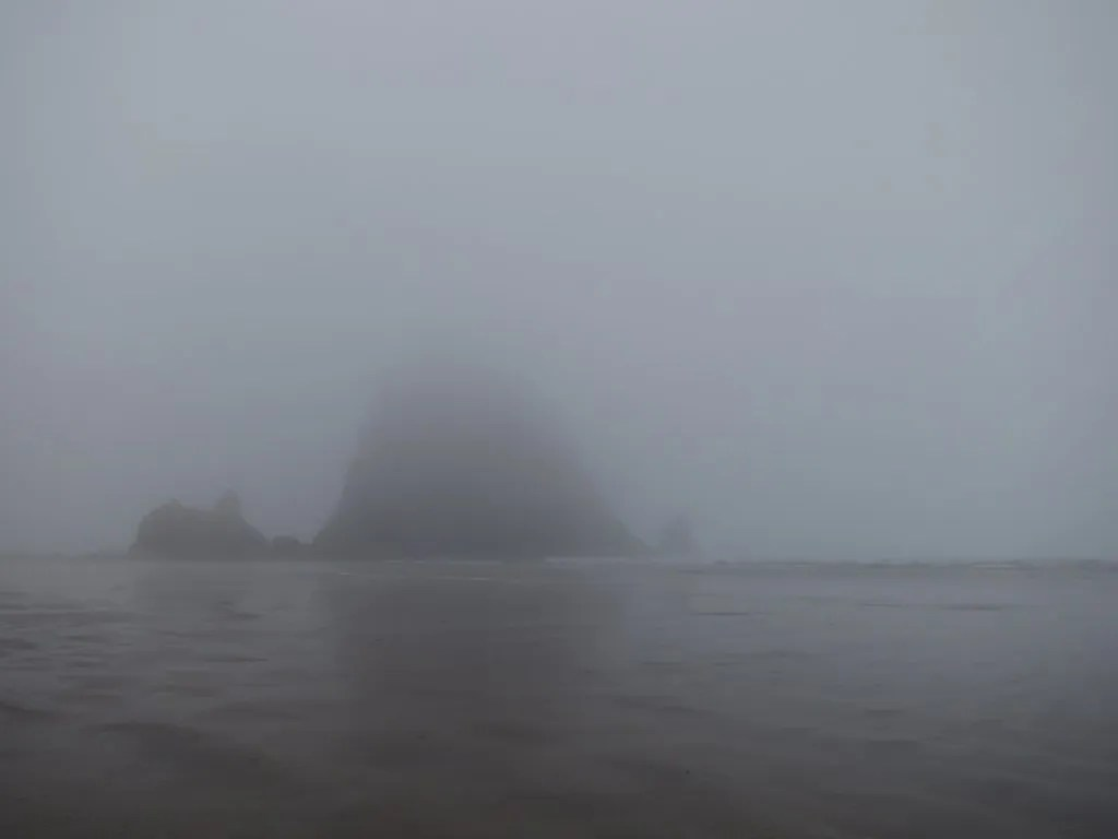 Haystack Rock hiding in the fog