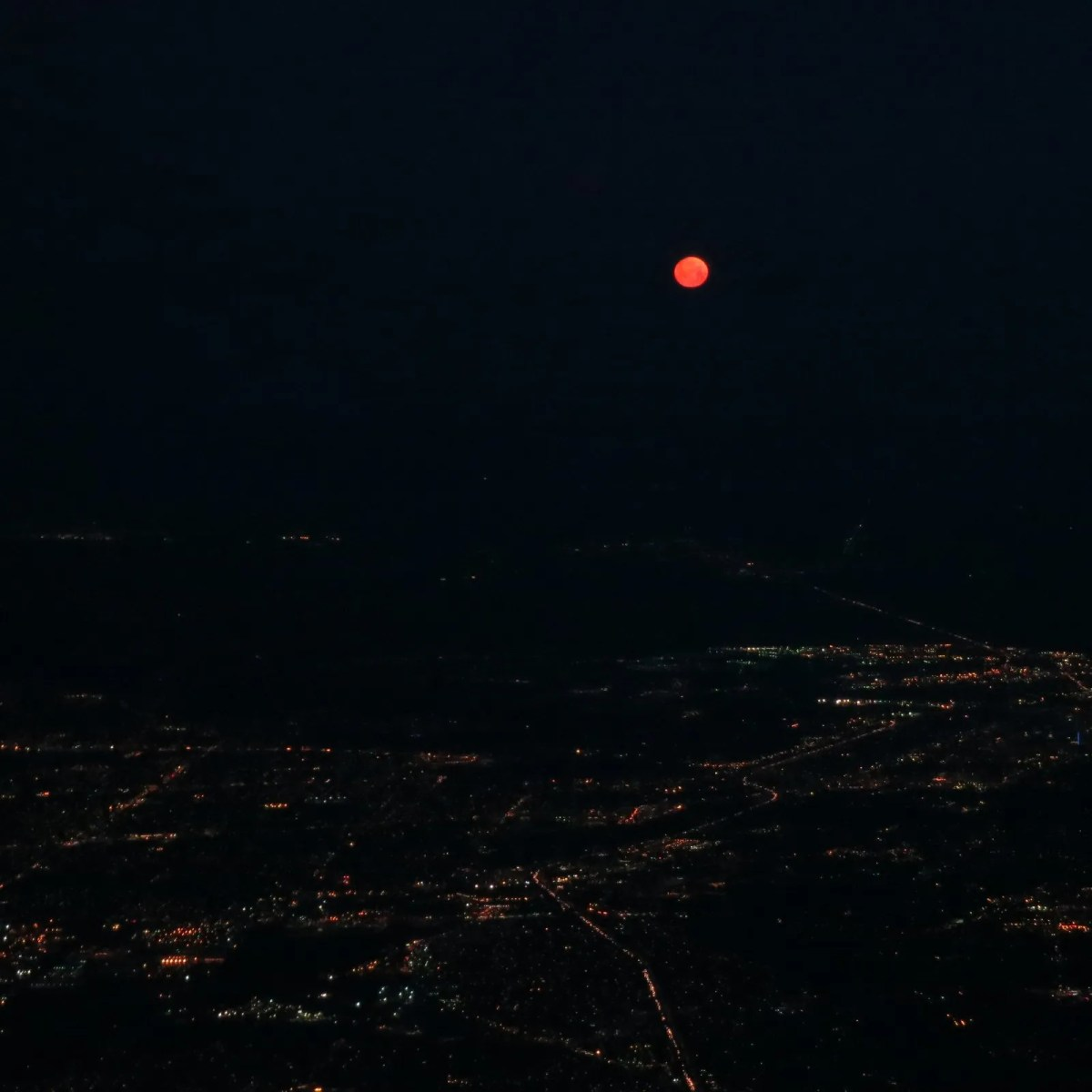 Red moon over Sacramento
