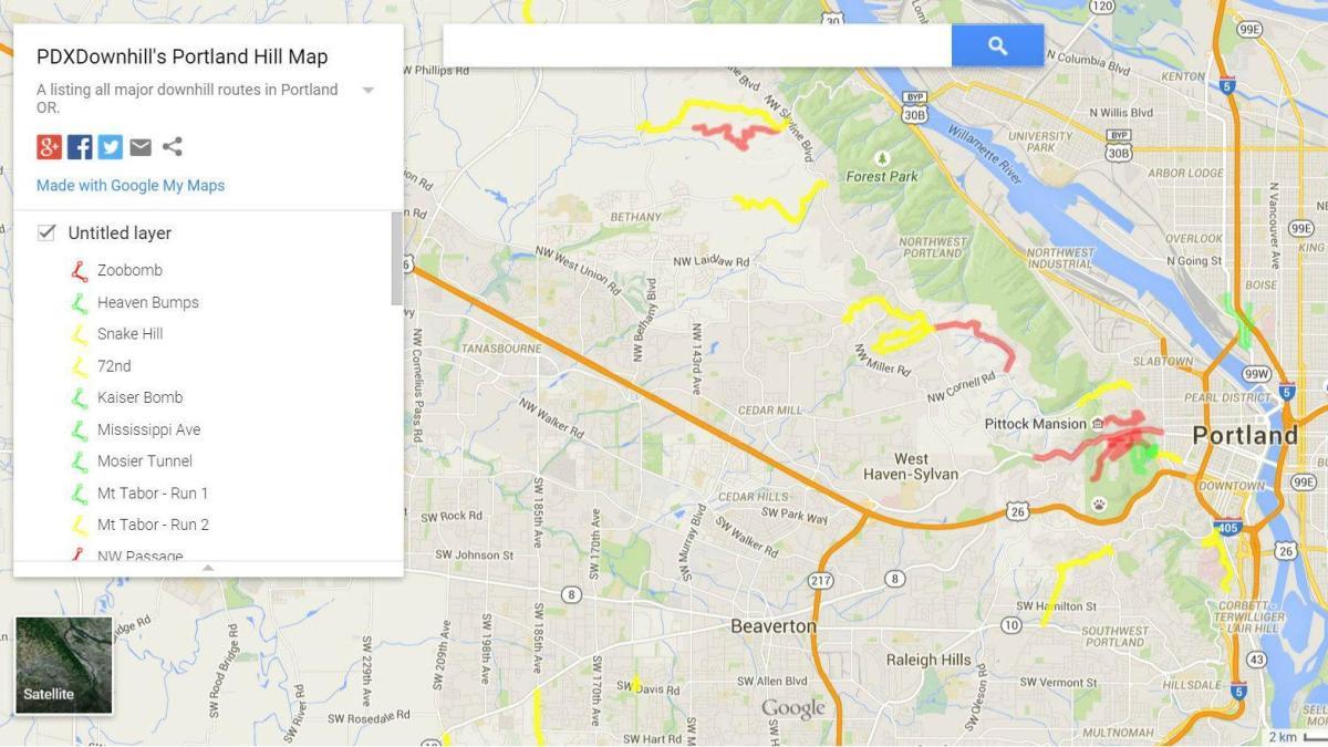 PDXDownhill's Portland Hill Map