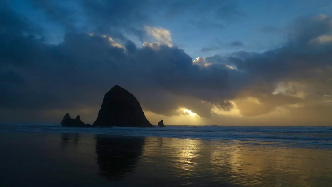 Haystack Rock as Sunset Approaches