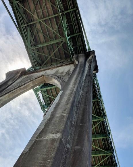 Looking up at St. Johns Bridge