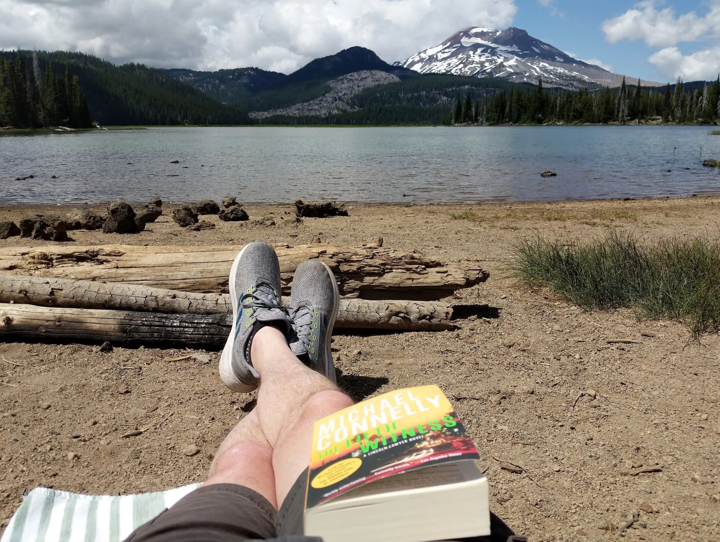 Enjoying the view and a book at Sparks Lake