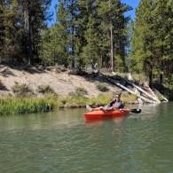 Jamison drifting down the Deschutes River