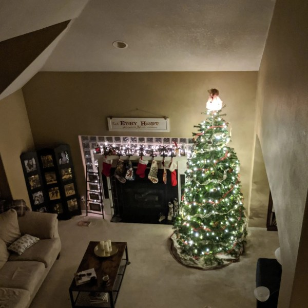 Our Christmas tree and stockings