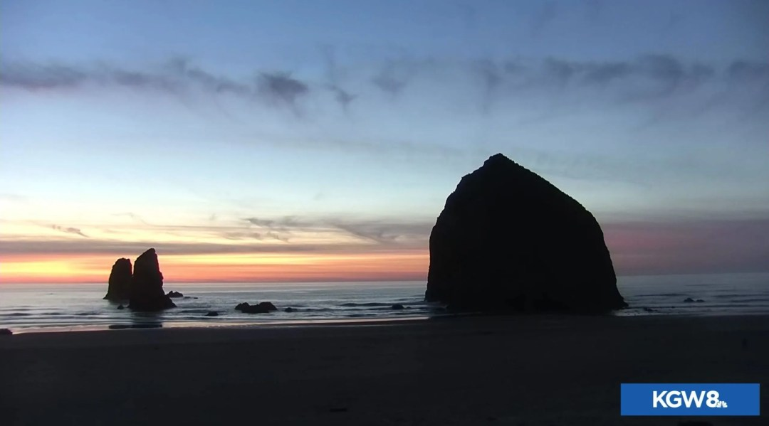 Cannon Beach sunset as seen from the KGW8 live webcam.