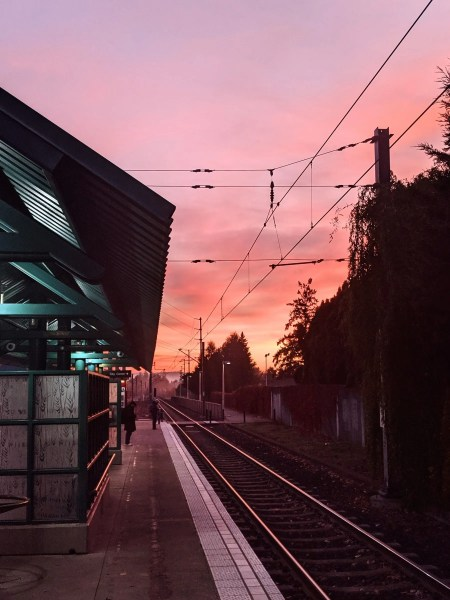The morning sky at the MAX station was colorful this morning.