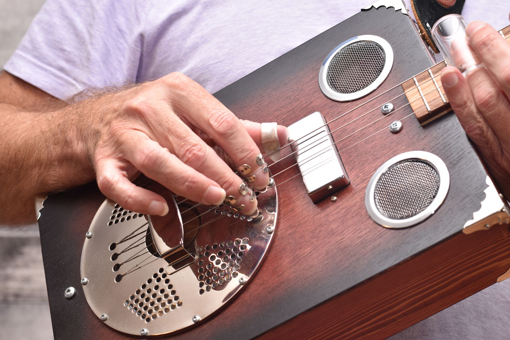 Cigar Box Guitar Resonator with Thumb and Finger Picks