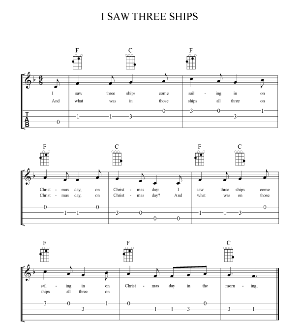 "Ok, here is your chance to try out some of the 6/8 strumming patterns from above on the Christmas classic ""I Saw Three Ships."" TIP: Remember to keep your strumming hand moving in the 6/8 pattern at all times. Don't stop the pattern when you switch chords. Try to keep the rhythm steady and count in your head or tap your foot on the bar's strong and weak beats."