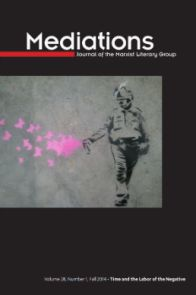 Cover of Mediations Time and the Labor of the Negative, image: Graffiti of a police officer with pepper spray, spraying butterflies.